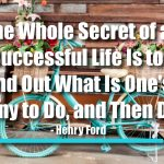 The Whole Secret of a Successful Life Is to Find Out What Is One's Destiny to Do, and Then Do It.
